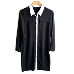 Calvin Klein Black White Long Sleeve Dress
